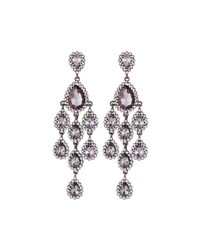 Fragments For Neiman Marcus Crystal Statement Chandelier Earrings Gray