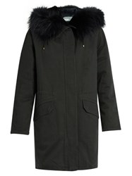 Yves Salomon Fur Lined Cotton Canvas Parka Navy