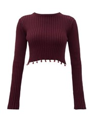Staud Beaded Cropped Cotton Sweater Brown
