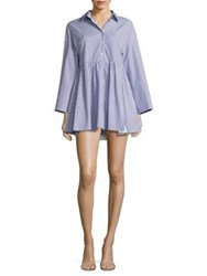 Sandy Liang Cosmo Striped Cotton Shirtdress Navy White
