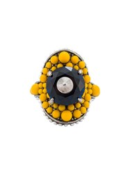 Gucci Multi Beaded Ring Yellow And Orange