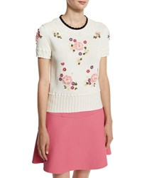 Red Valentino Short Sleeve Floral Embroidered Knit Top Latte