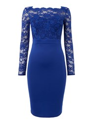 Jessica Wright Longsleeve Lace Bodycon Dress Blue