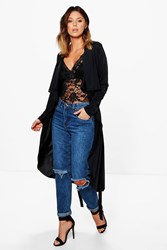 Boohoo Slinky Waterfall Belted Trench Black