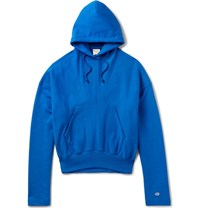 Vetements Champion Loopback Cotton Blend Jersey Hoodie Blue