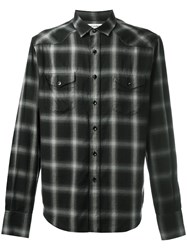 Saint Laurent Classic Western Plaid Shirt Black