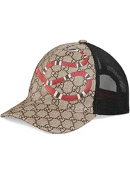 Gucci Kingsnake Print Gg Supreme Baseball Hat Cotton Polyamide Polyurethane Canvas Nude Neutrals