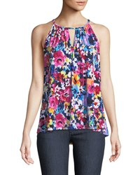 London Times High Neck Floral Draped Tank Fuschia