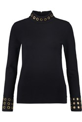 Tory Burch Eyelet Embellished Wool Blend Turtleneck Sweater Midnight Blue