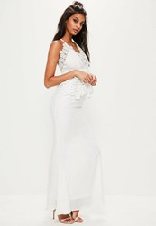 Missguided White Lace Peplum Maxi Dress