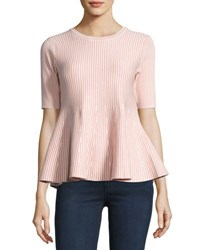 English Factory Stripe Print Knit Peplum Top Nude Pink