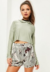 Missguided Petite Exclusive Grey Satin Floral Print Shorts