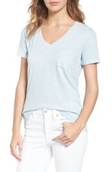 Madewell Women's 'Whisper' Cotton V Neck Pocket Tee Dusty Pool