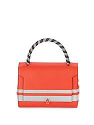 Anya Hindmarch Bathurst Small Striped Leather Satchel Red