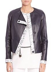 St. John Two Tone Nappa Leather Jacket Navy Multicolor