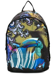 Etro Printed Backpack Men Leather Nylon One Size Black