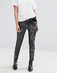 Mango All Over Sequin Skinny Jeans Black