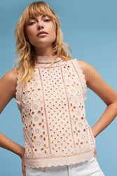 Anthropologie Eyelet Mock Neck Shell Rose