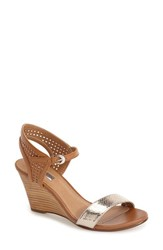 Women's Halogen 'Helen' Perforated Leather Ankle Strap Wedge Sandal Gold Metallic Tan