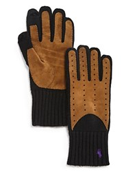 Polo Ralph Lauren Cashmere Blend Gloves W Suede Black