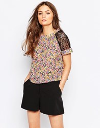 Girls On Film Floral Crop Top With Lace Inserts Pink