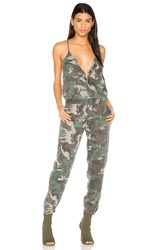 Pam And Gela Camo Strappy Jumpsuit Army