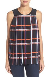 Women's Vince Camuto 'Retro Plaid' Sleeveless Pleated Blouse Rich Black