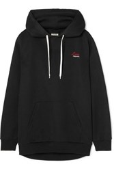 Miu Miu Embroidered Cotton Blend Jersey Hooded Top Black