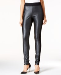 Inc International Concepts Petite Faux Leather Skinny Pants Only At Macy's Deep Black