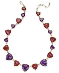 Charter Club Gold Tone Purple And Red Colored Stone Statement Necklace Only At Macy's