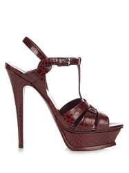 Saint Laurent Tribute Crocodile Effect Leather Sandals Burgundy