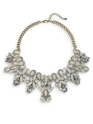 Natasha Marquis And Teardrop Station Collar Necklace Gold Crystal
