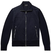 Tom Ford Slim Fit Suede And Wool Jacket Blue