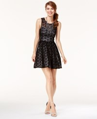 Trixxi Juniors' Star Lace Fit And Flare Dress Black Silver