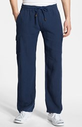 Men's Vilebrequin Linen Cargo Pants Navy