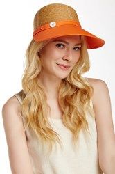 Flora Bella Haley Braided Raffia Canvas Ball Cap Orange