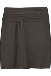 James Perse A Line Cotton Blend Jersey Skirt Dark Gray