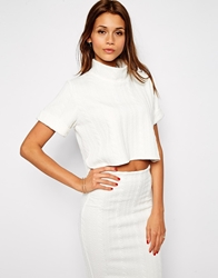 Tfnc Textured Crop Top With High Neck Ivory