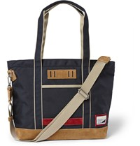 Master Piece Suede Trimmed Nylon Canvas Tote Bag Navy