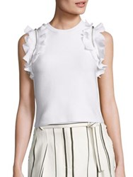 3.1 Phillip Lim Solid Ruffled Sport Tank Top White