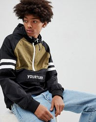 Your Turn Yourturn Overhead Windbreaker Jacket With Colour Block In Black