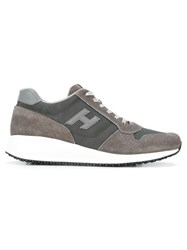 Hogan Leather Trimmed Sneakers Grey