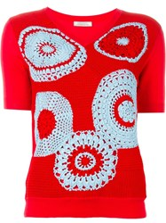 Nina Ricci Shortsleeved Crochet Sweater Red