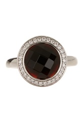 White Pave And Black Crystal Ring Red