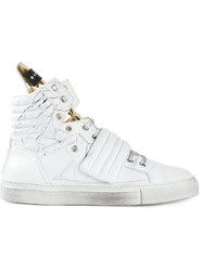 Gienchi Marble Print Hi Top Sneakers White