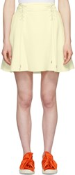 Carven Off White Crepe Lace Up Flared Miniskirt