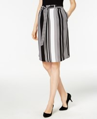 Ny Collection Petite Striped A Line Skirt Onyx Varigate