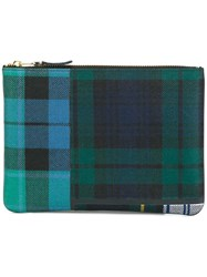 Comme Des Garcons Wallet Tartan Patchwork Clutch Green
