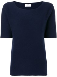 Allude Round Neck T Shirt Blue