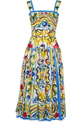 Dolce And Gabbana Pleated Printed Cotton Poplin Midi Dress Yellow